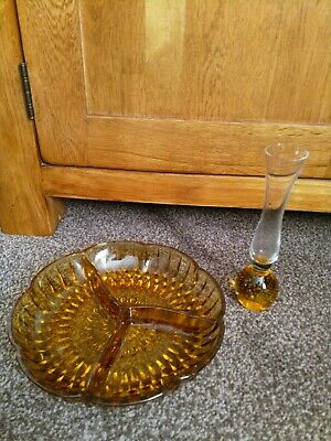 Vintage Collectible Bubble vase and glass dish in amber coloured glass1970s