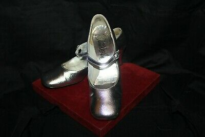 721e2aaf02d93 Vintage Thom Mcan Metallic Silver Chunky Heel Straps Pumps Shoes Lc8