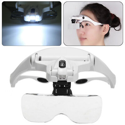 Eyelash Extension LED 5 Lens Headset Deluxe Magnifier Hand Free Magnifying Glass