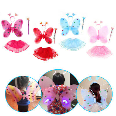 Kids Fairy Princess Costume Sets Colorful Ware Butterfly Wings Wand Tutu Skirts