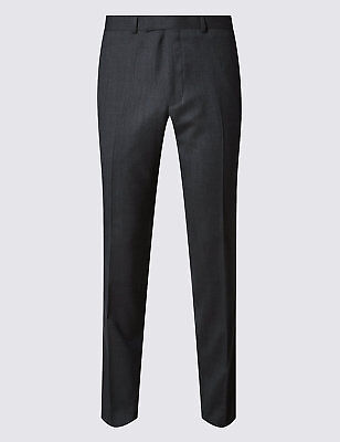 M&S Collection Luxury Charcoal Textured Slim Fit Wool Trousers W34 TD085 FF 02