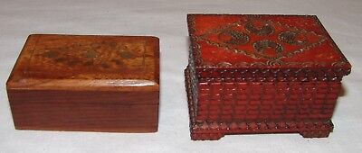 Small Wooden Trinket Boxes Inlaid Metal Wood 2 pcs Vtg Jewlery Ornate