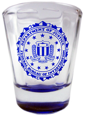 Department of Justice FBI Shot Glass, Federal Bureau of Investigation seal
