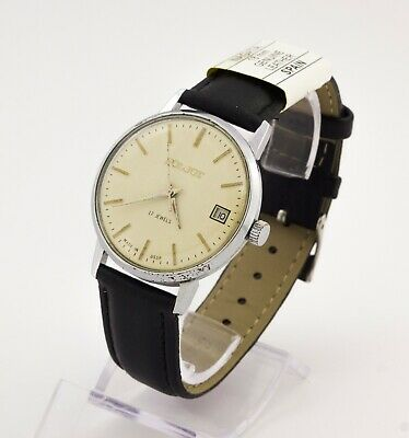 USSR men's mechanical watch Poljot cal. 2614.2H date 17 jewels white dial Export