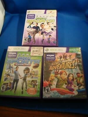 Lot of 3 Xbox 360 Kinect Games Adventures, Sports Season Two, Kinect Sports COOL