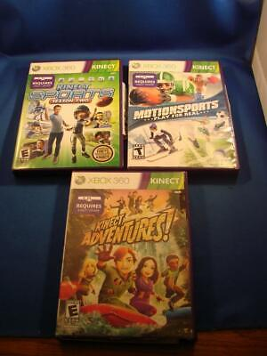 Lot of 3 Xbox 360 Kinect Games Adventures, Sports Season Two, Motion Sports COOL