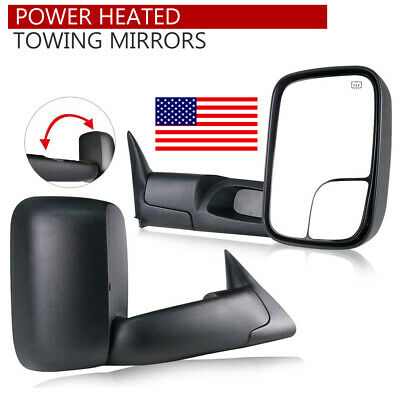 LH/&RH For 98-01 Dodge RAM 1500//98-02 2500 3500 FlipUp Power+Heated Tow Mirrors