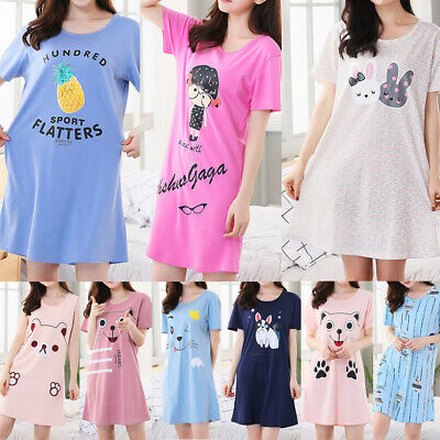 Ladies Womens Cotton Nightshirt Nightdress Nightie T-Shirt PJ pyjama Nightwear