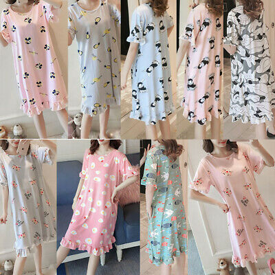 Ladies Womens Nightwear Lovely Cartoon Cotton Long Nightdress Home Dress Nightie