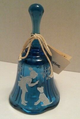 Hand Painted Blue Glass Bell MARY GREGORY DESIGN