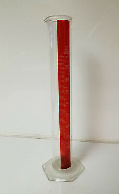 "Vintage Red Stripe Pyrex 1000 ml Graduated Cylinder 18"" Tall"