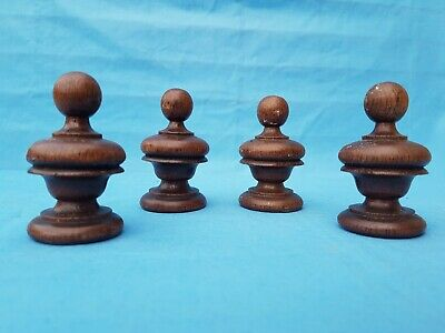 Antique French: 4 Turned Wood Ball or Sphere Finials , style Renaissance 19 th