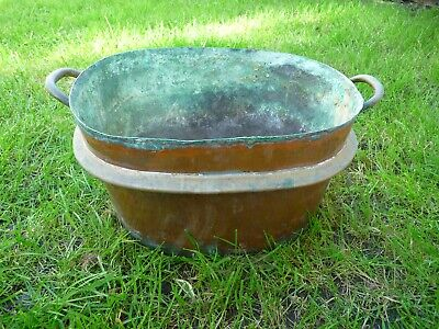 Antique Victorian Large French Copper+Brass Old Garden Planter Tub Trough Patio