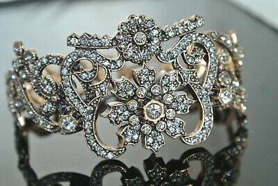 Byzantine Ottoman Victorian Turkish Mixed Metals 2 C Rhinestone Antique Bracelet