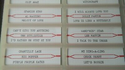 Any 10 Hand Typed Jukebox 45 Rpm Record Quality Title Strip Labels