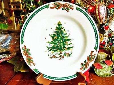 "2 New Christmas Village Dinner Plates 10.5""R Second Christmas Tree & Ribbons"