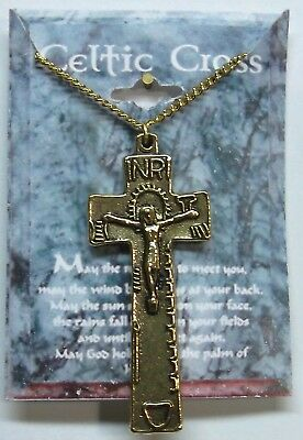 Irish Celtic Cross 2 Sided Necklace Ant Gold Plate Good St Patricks Day Gift NEW