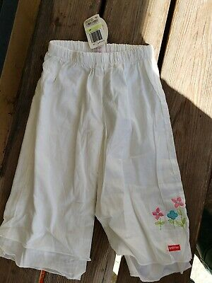 NWT Baby Nay 100% Cotton Lightweight White Pants/Bottoms W/Flowers Girls Size 4T