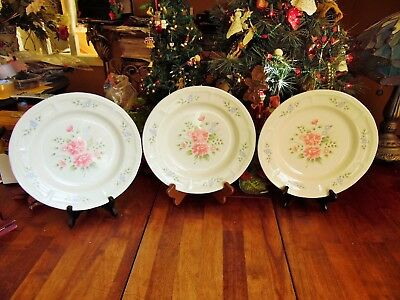 "NEW OTHER(old stock) 3 ELEGANT TOUCH DINNER PLATES 10.5""R PINK FLOWERS"