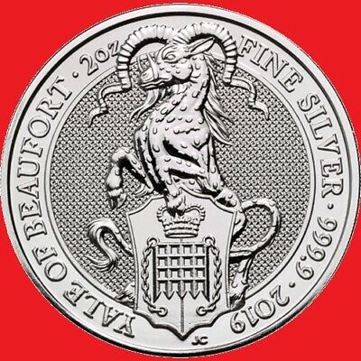2019 2oz Silver Queen's Beasts The Yale of Beaufort Bullion Coin in COIN CAPSULE