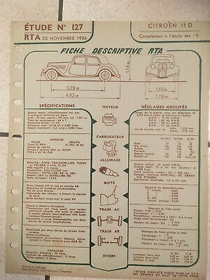 Fiche Technique De Rta N°127 11/1956 Citroen Traction 11 D    L15