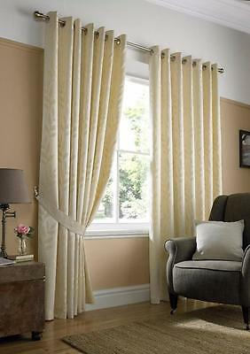 "90"" Wide x 90"" Drop Pair Tivoli Lined Eyelet Curtains Cream RRP £89 50/51"