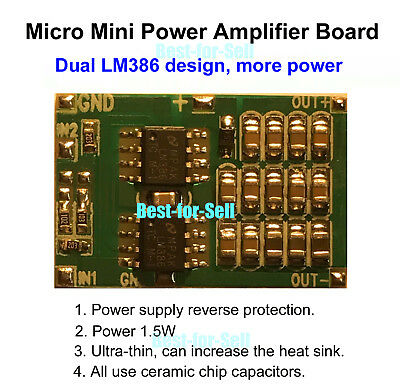 AMP Module Double LM386 Audio Power Amplifier Board 6V DC 3V~12V Micro Mini BTL