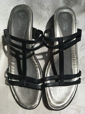 680c3422c6 NAOT WOMEN'S BLACK Leather And Silver Small Heeled Sandals Size 10 ...
