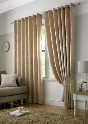 "66"" Wide x 90"" Drop Pair Tivoli Lined Eyelet Curtains Latte / Beige RRP £59 59"