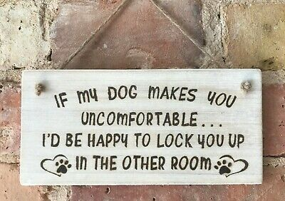 ** Handmade Dog Sign Plaque In A White Wash Finish **