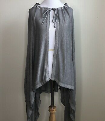 9aacb2ce7a8 Kensie Performance Woman's Small Sweater Gray Open Hooded Cape Tie at Neck  Soft