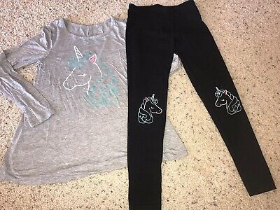 bd17f88524a43 Justice Girls Size 10 Unicorn Sparkle Black Leggings Gray Top Set Outfit
