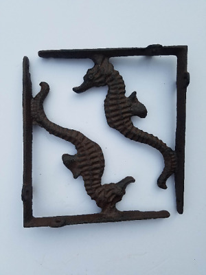 "Set of 2 Seahorse Shelf Brackets Cast Iron 7 3/4"" Sea Horse"