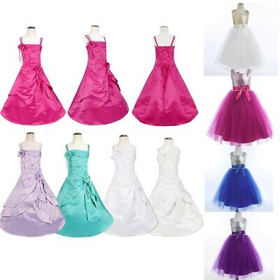 Flower Girls Vintage Kids Tulle Dress Long Communion Junior Bridesmaid Ball Gown