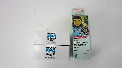 2 Rolls ILFORD FP4 125 Plus 120 B&W Film Medium Format + Lomography Color Slide