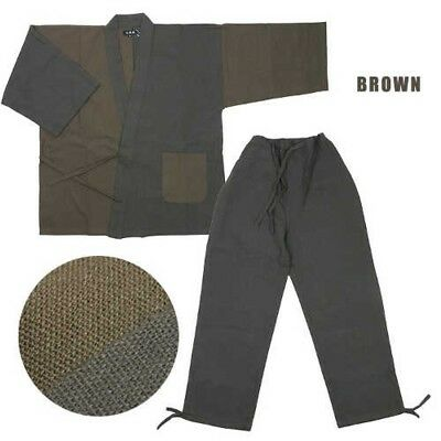 Traditional Japanese Mens Cotton Bicolor Design Work Wear L Brown Japan Tracking