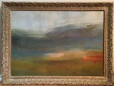 Vintage 1964 Abstract Landscape Oil Painting Signed Framed