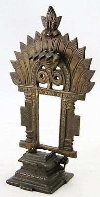 antique 18th 19th C bronze Hindu home altar with Shesha for deity statue, Vishnu