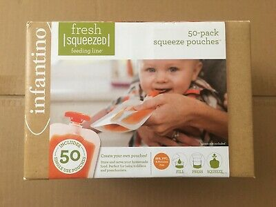 NEW Infantino Squeeze Pouches Baby Food Feeding Puree Fresh 49 Count