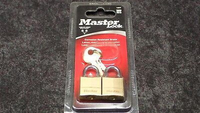 "New! MASTER LOCK Brass Padlock 5/32"" Shackle X 7/16"" x 3/4"" Wide, 2-PK, P/N 120T"