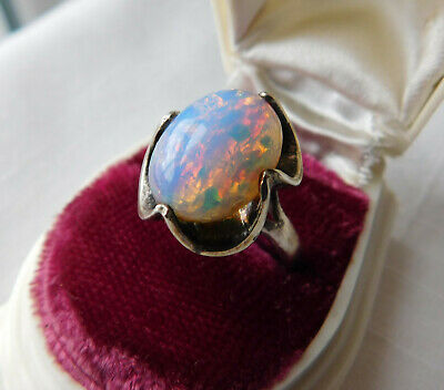 Old Vintage Sterling Silver Fire Opal Ring ~ Size 7.5