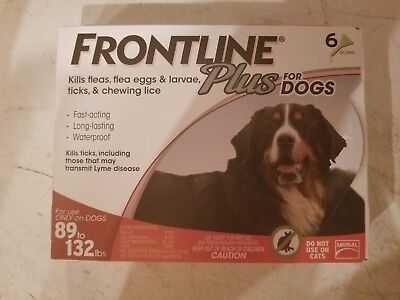 !!!Brand New Frontline Plus for XL Dogs 89-132lbs (40-60kg) 6 Months 6 Pack!!!