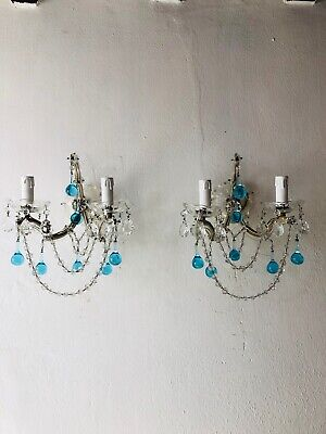 ~c 1920 French Murano Aqua Drops Crystal Swags Sconces~