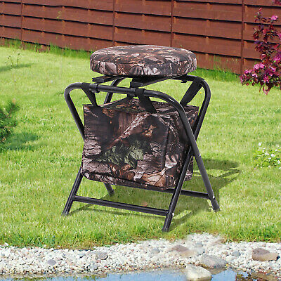 Outsunny Folding Stool Chair w/ Storage Bag and Padded Seat Camouflage Garden