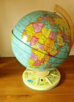 LARGE VINTAGE 1960/70s TIN PLATE DESKTOP POLITICAL WORLD GLOBE BY CHAD VALLEY
