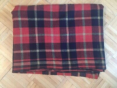 18th To Early 19th Century Wool Blanket Rare 3 Color Plaid Design W Center Seam