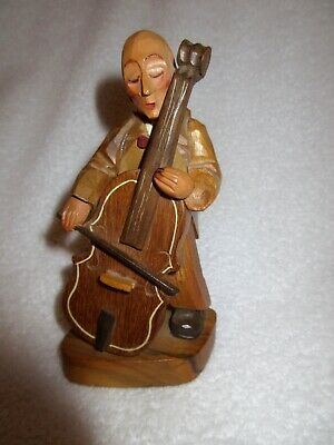 """ANRI Italy Fiddle Cello Musician Wood Carved 6"""" Black Forest Signed Figure Vtg"""