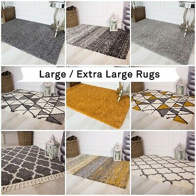 Extra Large Big Massive Grey Ochre Mustard Non Shed Shaggy Living Room Rugs Mat