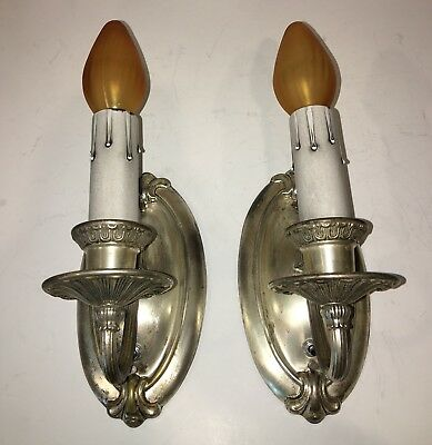 Nice early nickel plated sconces with nice worn antique patina Wired Pair 39E