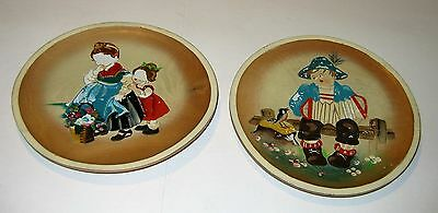Wood Plates (Set of 2) Hand-Carved & Hand-Painted